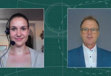 Gerhard Hofbauer, Vertriebsleiter Jenapharm (Rechts) im Interview mit Maria Huber, Redaktion PharmaBarometer, anlässlich der Preisverleihung © Eurecon Verlag / Kupconcept