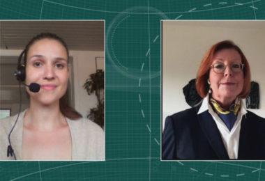 Dr. Brigitta Sam, wissenschaftliche Produktmanagerin Slenyto (Rechts) im Interview mit Maria Huber, Redaktion PharmaBarometer, anlässlich der Preisverleihung © Eurecon Verlag / Kupconcept